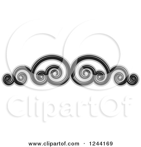 Clipart of a Black and Gray Swirl Border - Royalty Free Vector Illustration by Lal Perera