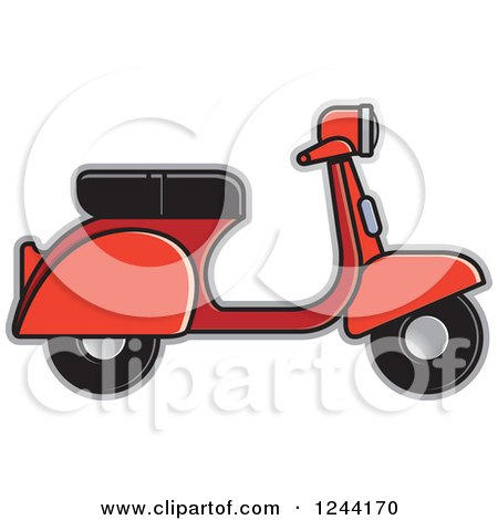 Clipart of a Red Scooter - Royalty Free Vector Illustration by Lal Perera