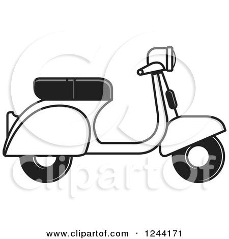 Clipart of a Black White and Gray Scooter - Royalty Free Vector Illustration by Lal Perera