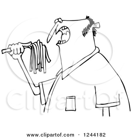 Clipart of a Black and White Hungry Man Eating Spaghetti - Royalty Free Vector Illustration by djart
