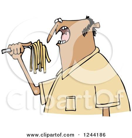 Clipart of a Hispanic Man Eating Spaghetti - Royalty Free Vector Illustration by djart