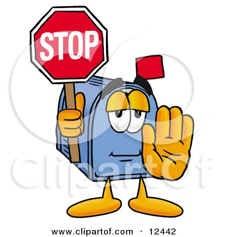 Blue Postal Mailbox Cartoon Character Holding a Stop Sign Posters, Art Prints