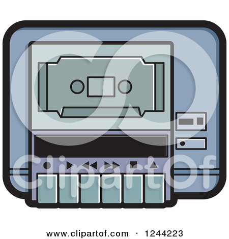 Clipart of a Cassette Tape in a Player - Royalty Free Vector Illustration by Lal Perera