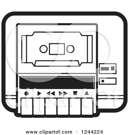 Clipart of a Black and White Cassette Tape in a Player - Royalty Free Vector Illustration by Lal Perera