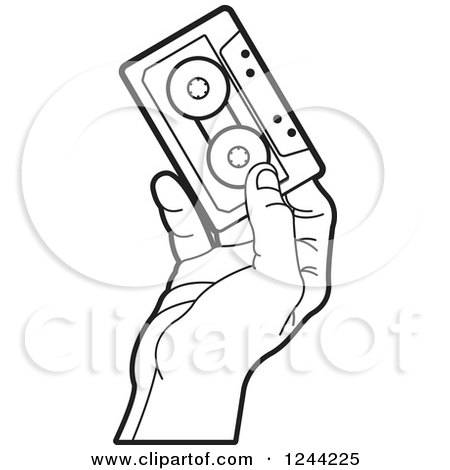 Clipart of a Black and White Hand Holding a Cassette Tape - Royalty Free Vector Illustration by Lal Perera