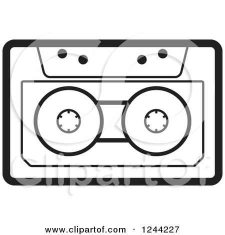 Clipart of a Black and White Cassette Tape - Royalty Free Vector Illustration by Lal Perera