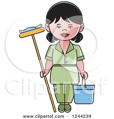 Clipart of a Female Maid with a Mop and Bucket - Royalty Free Vector Illustration by Lal Perera