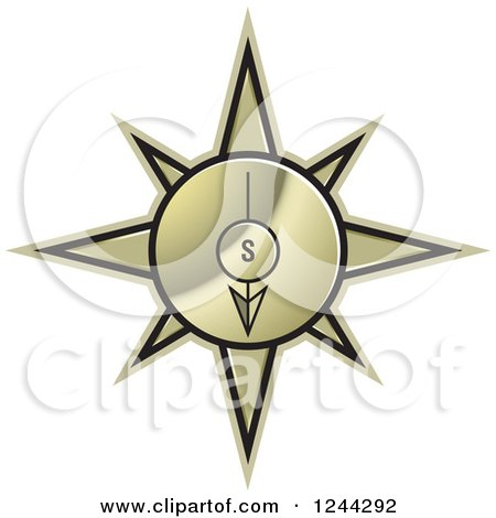 Clipart of a Gold Compass Pointing South - Royalty Free Vector Illustration by Lal Perera