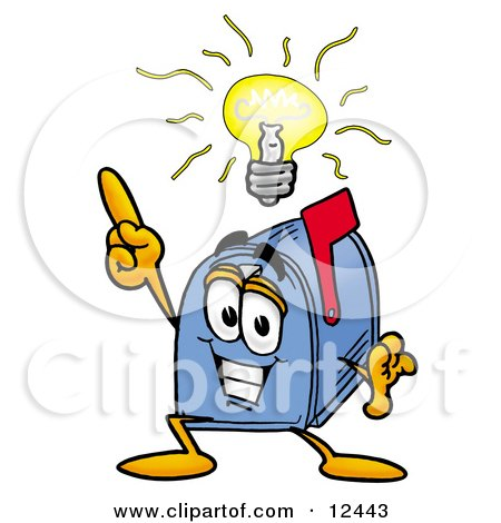 Clipart Picture of a Blue Postal Mailbox Cartoon Character With a Bright Idea by Toons4Biz