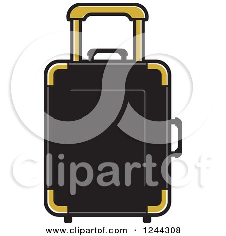 Clipart of a Black and Gold Rolling Suitcase - Royalty Free Vector Illustration by Lal Perera