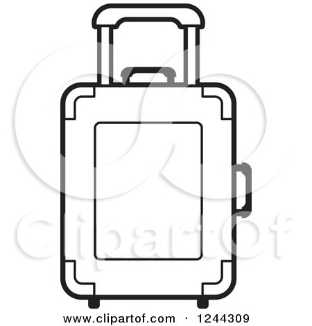 Clipart Of A Black And White Rolling Suitcase Royalty Free Vector Illustration By Lal Perera