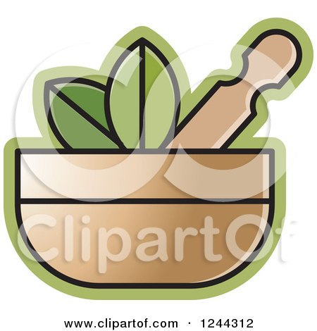 Clipart of a Mortar and Pestle with Leaves - Royalty Free Vector Illustration by Lal Perera