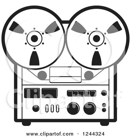 Clipart of a Black and White Vintage Tape or Film Recorder - Royalty Free Vector Illustration by Lal Perera