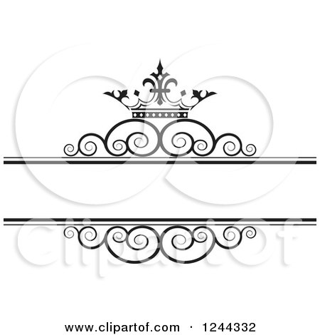 Clipart of a Black and White Crown and Swirl Wedding Frame 2 - Royalty Free Vector Illustration by Lal Perera