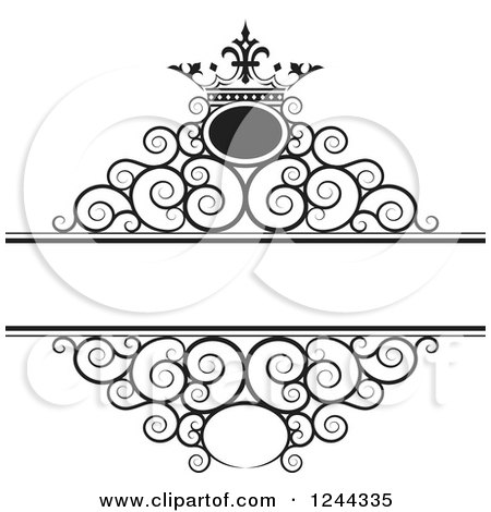 Clipart of a Black and White Crown and Swirl Wedding Frame - Royalty Free Vector Illustration by Lal Perera