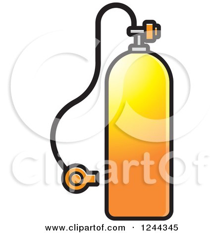 Clipart of a Gradient Orange Diving Cylinder - Royalty Free Vector Illustration by Lal Perera