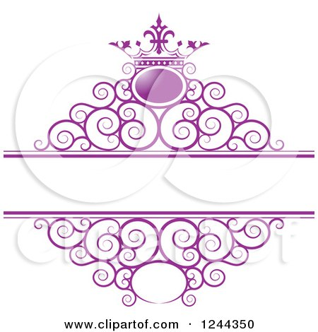 Clipart of a Purple Crown and Swirl Wedding Frame - Royalty Free Vector Illustration by Lal Perera