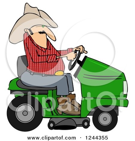 Clipart Of A Cowboy Riding A Lawn Mower Royalty Free Illustration