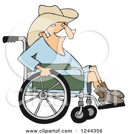 Clipart of a Senior Cowboy in a Wheelchair - Royalty Free Illustration by djart