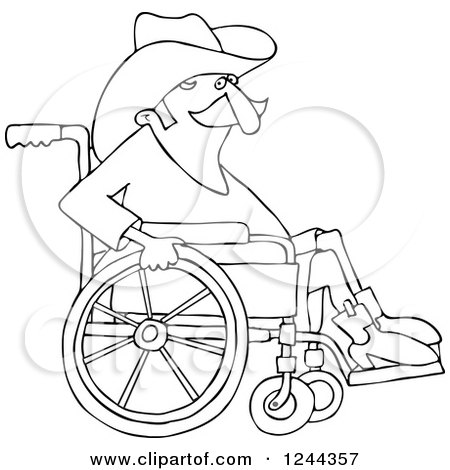 Clipart of a Black and White Senior Cowboy in a Wheelchair - Royalty Free Vector Illustration by djart