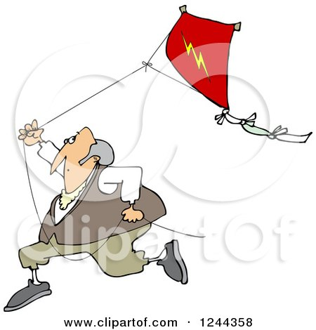 Clipart of Benjamin Franklin Running with a Kite - Royalty Free Vector Illustration by djart