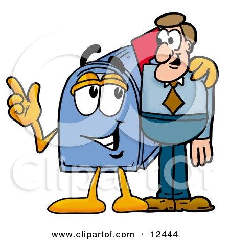 Blue Postal Mailbox Cartoon Character Talking to a Business Man Posters, Art Prints