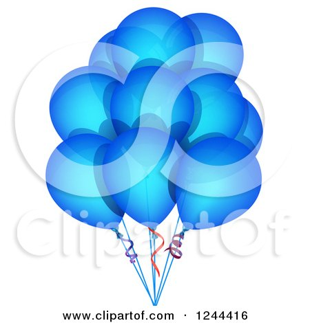 Clipart of a Bunch of Blue Party Balloons - Royalty Free Vector Illustration by vectorace