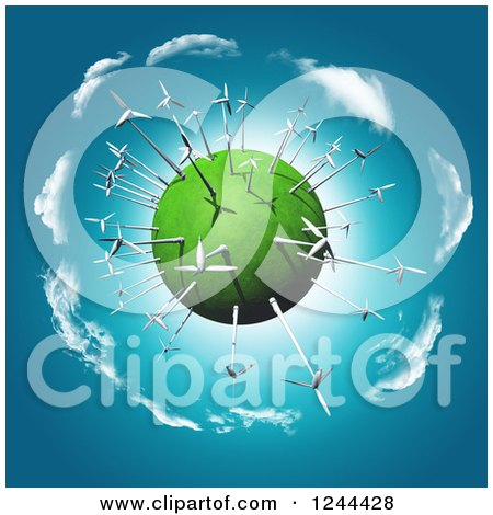 Clipart of a 3d Wind Turbine Globe - Royalty Free Illustration by KJ Pargeter