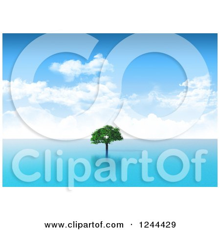 Clipart of a 3d Lone Tree in the Sea - Royalty Free Illustration by KJ Pargeter