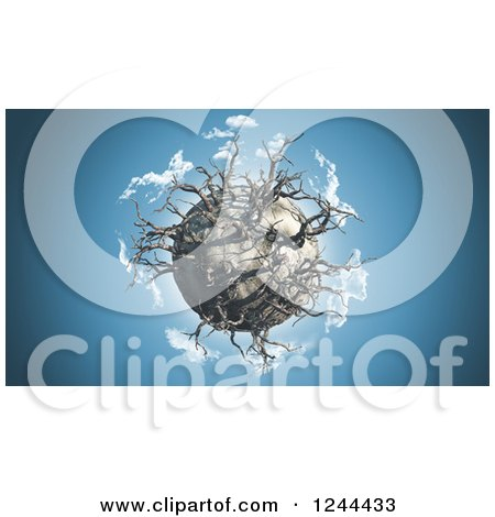 Clipart of a 3d Dying Planet with Dead Trees in a Blue Sky - Royalty Free Illustration by KJ Pargeter