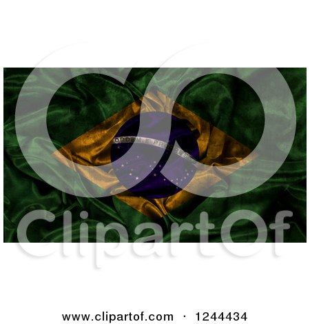 Clipart of a 3d Dark and Crumpled Brazilian Flag - Royalty Free Illustration by KJ Pargeter