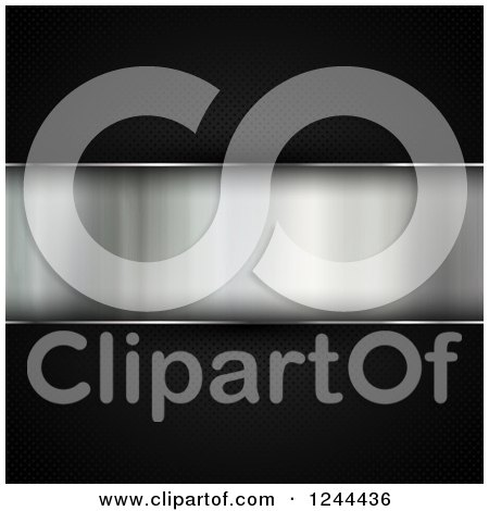 Clipart of a 3d Brushed Metal Panel on Black - Royalty Free Illustration by KJ Pargeter