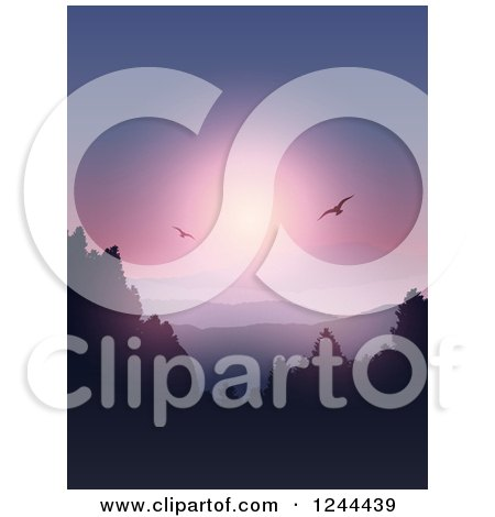Clipart of Birds Flying over Forested Mountains and a Lake at Sunset - Royalty Free Vector Illustration by KJ Pargeter