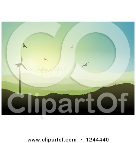 Clipart of Birds Flying over a Hilly Landscape with Wind Turbines - Royalty Free Vector Illustration by KJ Pargeter