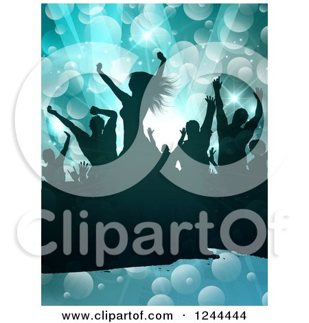 Clipart of a Silhouetted Dancing Crowd over Flares on Blue - Royalty Free Vector Illustration by KJ Pargeter