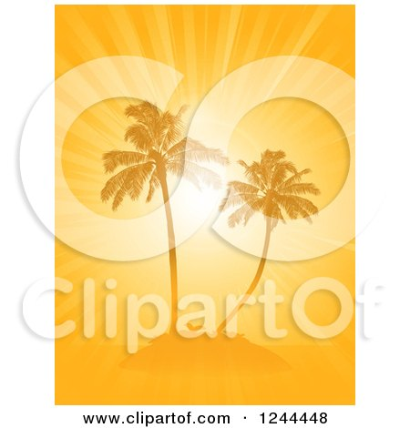 Clipart of an Orange Sunburst and Palm Trees on an Island - Royalty Free Vector Illustration by elaineitalia