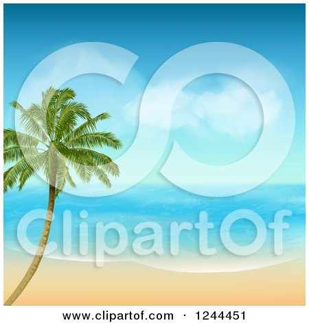 Clipart of a Lone Palm Tree on a Tropical Island on a Sunny Day - Royalty Free Vector Illustration by elaineitalia