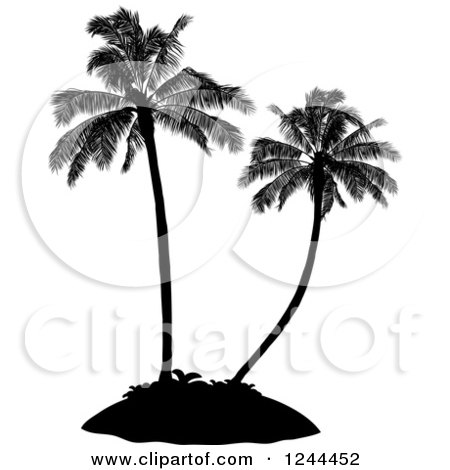 Clipart of Black Silhouetted Palm Trees on an Island - Royalty Free Vector Illustration by elaineitalia