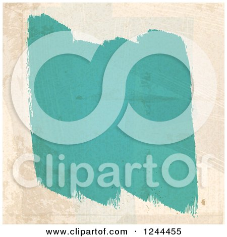 Clipart of Strokes of Turquoise Paint on a Beige Wall - Royalty Free Vector Illustration by elaineitalia