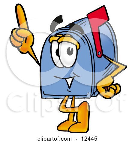 Clipart Picture of a Blue Postal Mailbox Cartoon Character Pointing Upwards by Toons4Biz