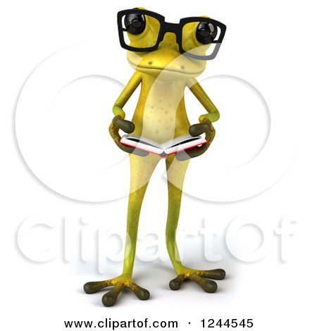 Clipart of a 3d Bespectacled Green Ribbit Frog Reading a Book 2 - Royalty Free Illustration by Julos