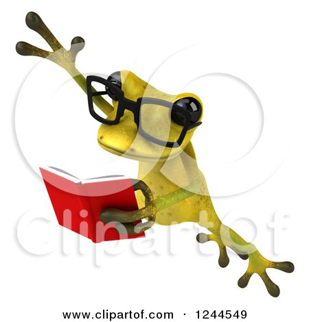 Clipart of a 3d Bespectacled Green Ribbit Frog Leaping and Reading a Book - Royalty Free Illustration by Julos