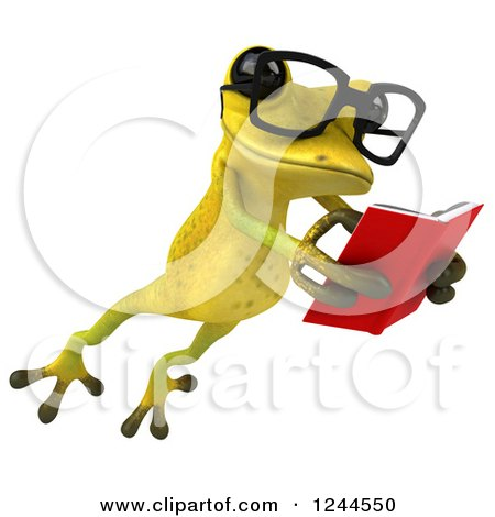 Clipart of a 3d Bespectacled Green Ribbit Frog Leaping and Reading a Book 2 - Royalty Free Illustration by Julos