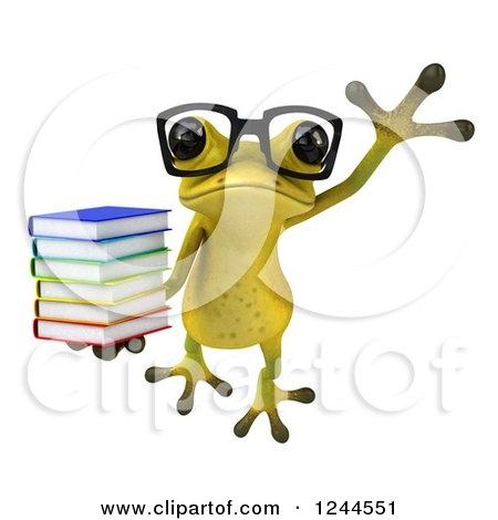 Clipart of a 3d Bespectacled Green Ribbit Frog Jumping with a Stack of Books 2 - Royalty Free Illustration by Julos