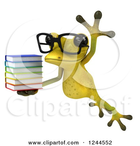 Clipart of a 3d Bespectacled Green Ribbit Frog Jumping with a Stack of Books - Royalty Free Illustration by Julos