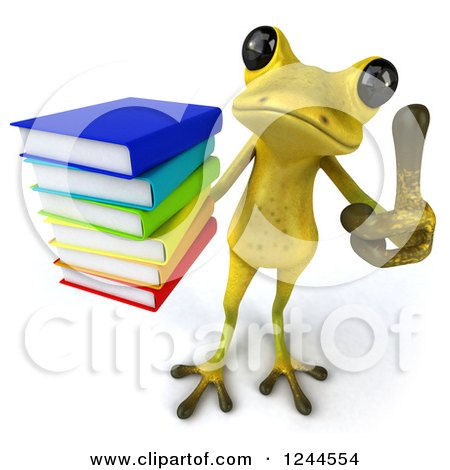 Clipart of a 3d Green Ribbit Frog Holding a Thumb up and a Stack of Books - Royalty Free Illustration by Julos