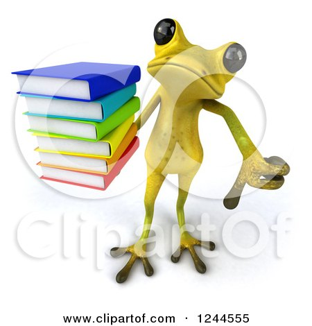 Clipart of a 3d Green Ribbit Frog Holding a Thumb down and a Stack of Books - Royalty Free Illustration by Julos