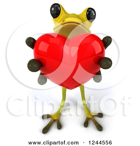 Clipart of a 3d Green Ribbit Frog Holding out a Red Heart - Royalty Free Illustration by Julos