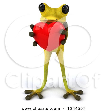 Clipart of a 3d Green Ribbit Frog Holding a Red Heart - Royalty Free Illustration by Julos