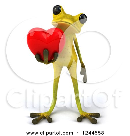 Clipart of a 3d Green Ribbit Frog Holding a Red Love Heart - Royalty Free Illustration by Julos